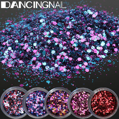 5 Pot/Set Glitter Eye Shadow Chunky Holographic Nail Art Face Body Tatto Powder