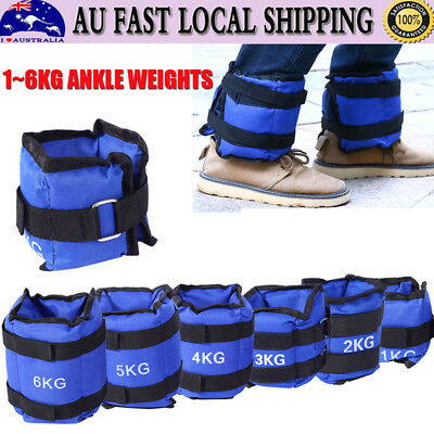 1/2/3/4/5/6kg 2X Adjustable Ankle Weights Gym Equipment Wrist Fitness Yoga AU BG
