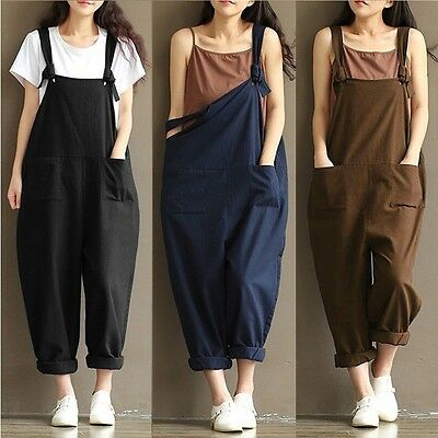 UK Womens Strap Loose Jumpsuit Casual Dungaree Harem Trousers Girl Overall Pant