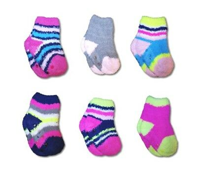 New Baby Girl Toddler Anti Slip ABS Fluffy Warm Winter Socks, Size 12M to 3Y