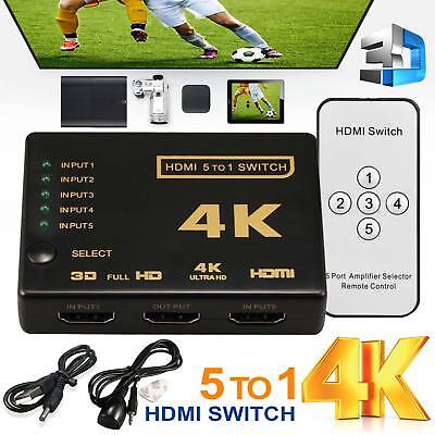 5-1 HDMI Port Switch Splitter Hub with Remote 1080p for PS3 PS4 Xbox One HDTV