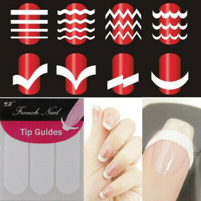 French  Nail Art Tips Form Guide Sticker Polish DIY Stencil Tools Set