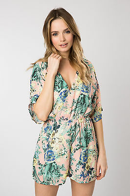 Fashion Union Womens Playsuit with Kimono Loose Sleeves in Floral Print