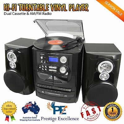 Vinyl Record Player Hi-Fi Turntable 3 CD System Stereo Cassette Recorder Players