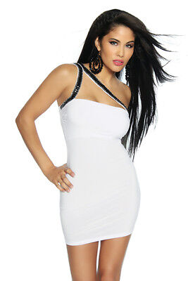 Sexy Mini Abito Elasticizzato Aderente Bianco Party Bodycon Dress Sequin Saresia