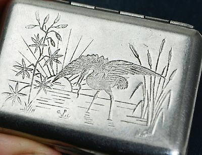 Antique JAHNCKE'S PATENT Tin With HERON Bird Engraving - Pins / Vesta / Pill Box
