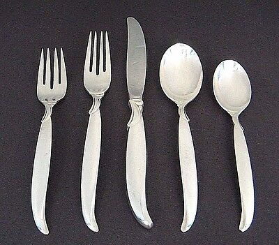 5Pc ROGERS BROS MiD CENTURY FLAiR SiLVERPLATE PLACE SETTiNG FORK's SPOON's KNiFE