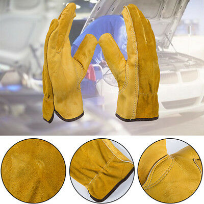 UK Work Gloves Leather Cowhide For Garden Driving Safe Working Protective New