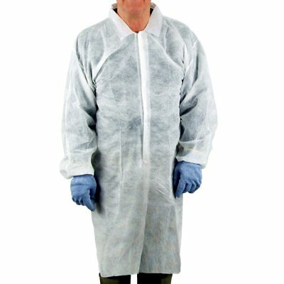 UltraSource Disposable Poly Lab Coats, Large Pack of 30