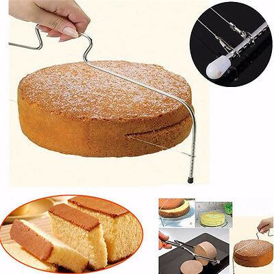 Home Stainless Steel Wire Cake Slicer Leveler Pizza Dough Cutter Trimmer Tool