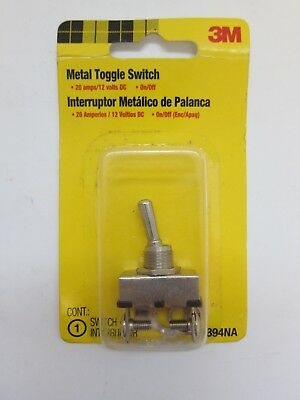 New 3M Metal Toggle Switch 20 Amps 12 V On Off 03894NA