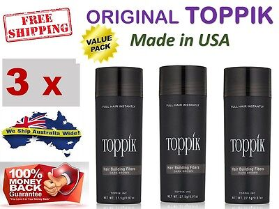 3 x TOPPIK Hair Loss Building Fibers 27.5g Alopecia Keratin Thicker Concealer