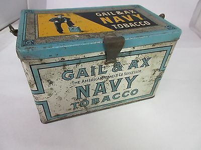 Vintage Gail & Ax Navy Lunch Pail Tobacco Tin Advertising Collectible  101-Z