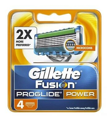 Gillette Fusion ProGlide POWER Razor Blades Pack Of 4 Cartridges 100% Genuine !