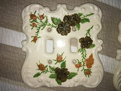 Vintage Holland Mold Ceramic Floral Double Light Switch Plate Cover