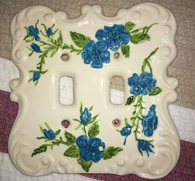 Vintage Holland Mold Ceramic Double Floral Switch Plate Cover