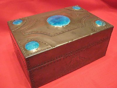 1905-10 ARCHIBALD KNOX,LIBERTY & Co,TUDRIC PEWTER & ENAMEL STYLE CIGAR CASE/BOX.