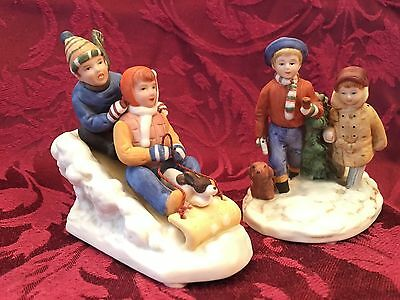 2 Museum Miniatures Norman Rockwell Bisque Figurines Racer and Christmas Tree