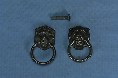 Antique Vintage MIXED LOT of 2 LION HEAD BRASS DRAWER PULLS HARDWARE OLD #3187