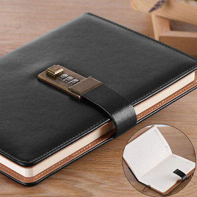 Vintage Rudder PU Leather Journal Blank Diary Note Book with Password Code Lock