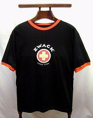 Zwack Black T-Shirt Men's Black Short Sleeve Medium 100% Cotton New Old Stock