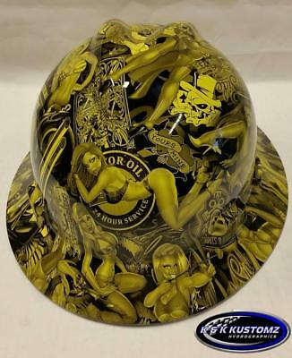 Yellow Naughty Boy MSA V-Gard (Full Brim) Hard Hat W/FasTrac