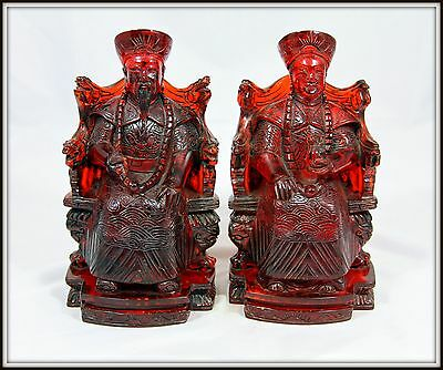 """Exquisite! """"Carved Chinese Cherry Amber Emperor & Empress from China"""" Signed 9""""H"""
