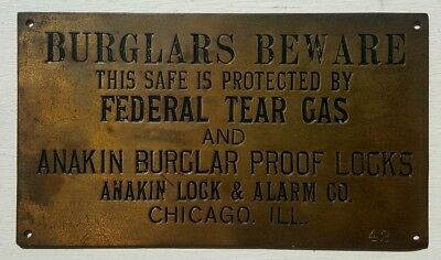 Rare Roaring 20's Federal Tear Gas Anakin Lock Chicago IL Brass Safe Plaque