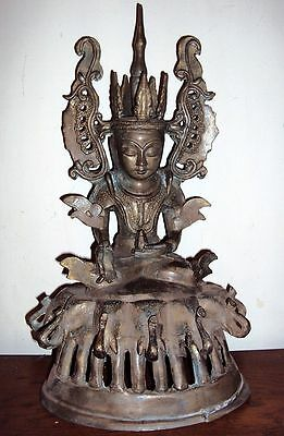 Stunning And Rare Large Mandalay Cham Seated Bronze Buddha Statue, Antique.