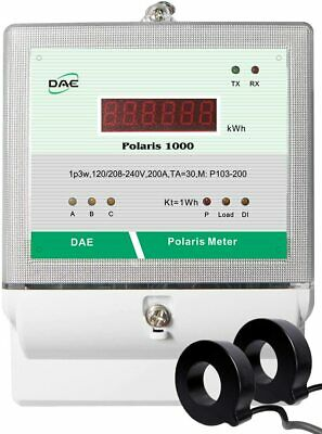 DAE P103-200-S KIT, UL, Electric kWh Submeter,1p3w, 200A,120/208-240v, 2CTs