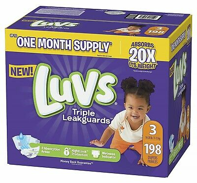 ***NEW*** Luvs Ultra Leakguards Diapers, Size 3, 186 Count ***FREE SHIPPING***