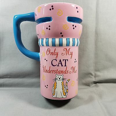 Left Hand Mug Only My Cat Understands Me and Right Hand 7 in Pink Sip Cover NEW