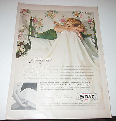 1949 original ad Pacific Sheets Pretty Lady in Bed Just Waking Up