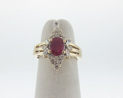 Fine Estate Natural Ruby Diamonds Solid 14k Yellow Gold Ring FREE Sizing