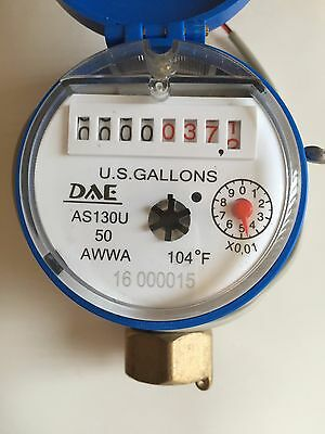 "DAE AS130U-50P 1/2"" Potable Water Meter,Pulse Output,Measured in Gallon+Coupling"