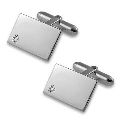 Sterling silver oblong with diamond cufflinks