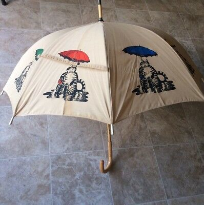 Vintage Kliban Cat Broadcloth Fabric Wood Cane Umbrella Rainbow Cat Very Rare