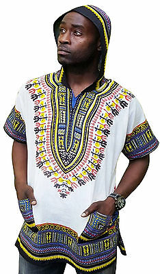 Off White African Print Dashiki Hoodie Shirt DP3804M