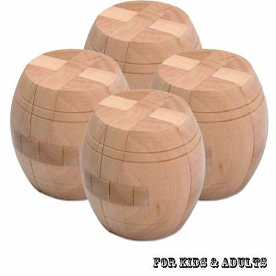 3D Wooden Intelligence Game Wood IQ Puzzle Brain Teaser Tetris Cube Barrel New
