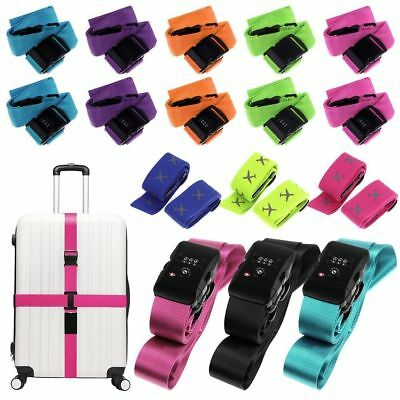 Travel Luggage Suitcase Cross Strap/Baggage Belt Metal Clasp With 3 Dial Lock
