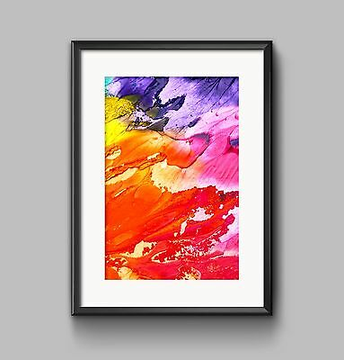 ABSTRACT PAINTING ORANGE Print A4 or A3 Wall Art HOME DECOR
