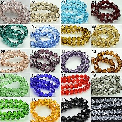100/500pcs Mixed Color Transparent Synthetic Crystal Gemstone Round FacetedBeads
