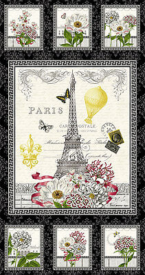 "Salon Fleur Eiffel Tower Gardens Paris  Fabric Panel 24x44"" Studio E"