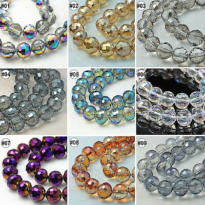 100/500pcs Plating Mixed Colour Synthetic Crystal Gemstone Round Faceted Bead