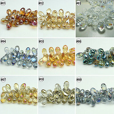 50/100pcs Plating Mixed Color  Loose Beads Synthetic Crystal Drip Shape Faceted