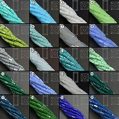 100/200pcs Mixed Color Loose Beads Synthetic Crystal Gemstone Rectangle Shape
