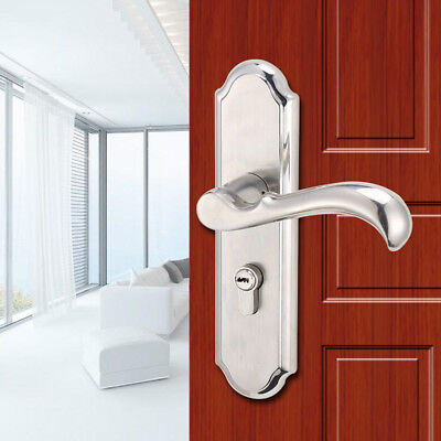 Privacy Door Security Entry Lever Mortise Stainless Steel Handle Lock Set Silver