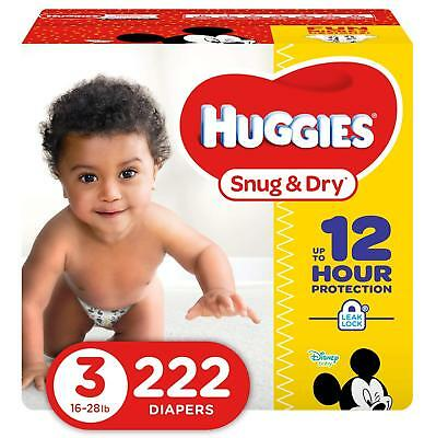 HUGGIES Snug & Dry Baby Disposable Diapers, Size 3, One Month Supply (222 Count)