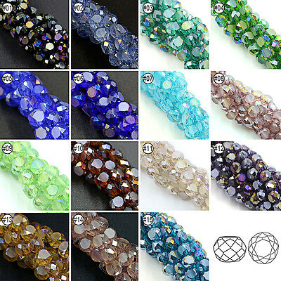 100/200pcs AB Mixed Color Loose Beads Synthetic Crystal Gemstone Bread Shape 6mm