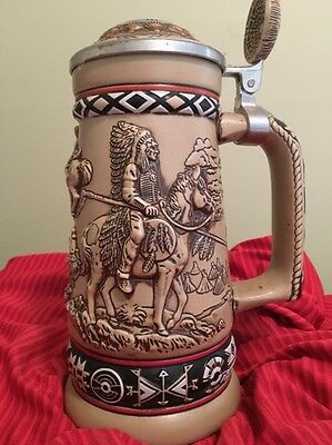 'Indians Of The American Frontier' Beer Stein Handcrafted In Brazil By Avon 1988